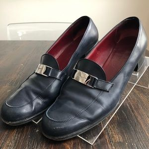 SALVATORE FERRAGAMO Sport Navy Leather Loafers